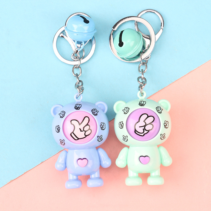 2019 Rock Paper Scissors The cartoon bear Key Chain New Family Games Keychains Fancy Dolls Round Egg Key Ring Car Bag Pendant in Key Chains from Jewelry Accessories