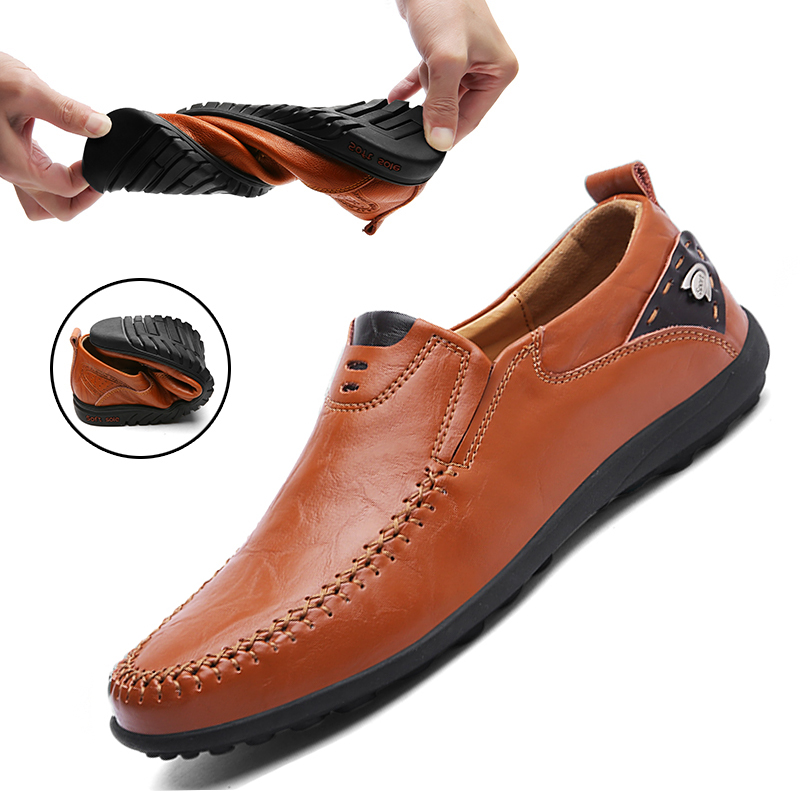 New Leather Shoes Men Casual Moccasins Loafers Adult Men Breathable High Quality Footwear Slip On Male Sneakers Big Sizes 38-47