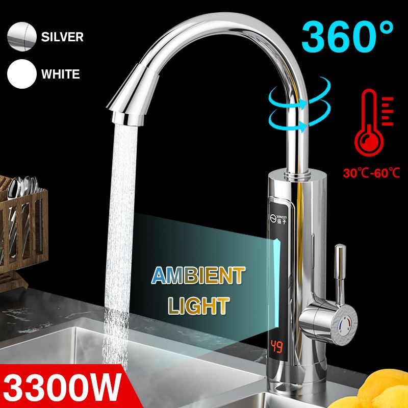 3300W Electric Hot Water-Heater Faucet LED Ambient Light Temperature Display Instant Hot Water Heating Tap Electric Faucet 220V