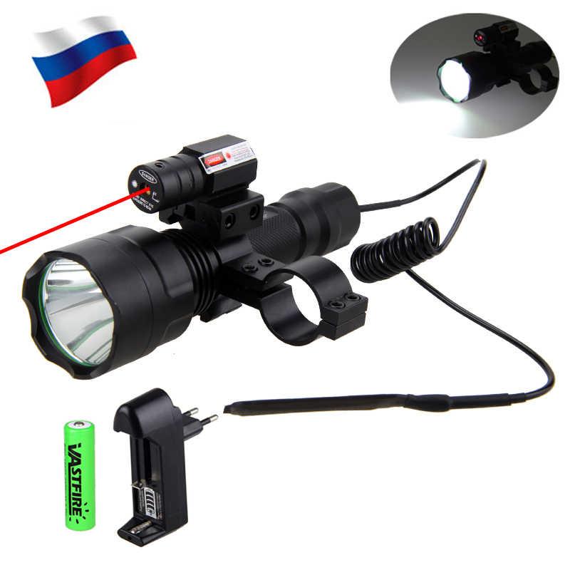 بندقية الصيد الادسنس سلاح ضوء LED التكتيكية مضيا الليزر دوت البصر مفتاح ضغط 20 مللي متر السكك الحديدية برميل جبل 18650 شاحن