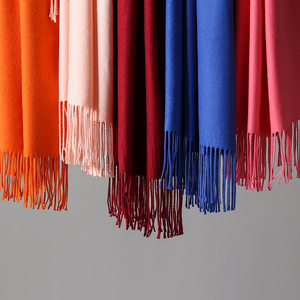 Image 2 - 20 Color Personalized Solid Tassel For Women Scarf Embroidery Custom Cashmere Winter Lady Girls Shawl Scarf Statement Gift