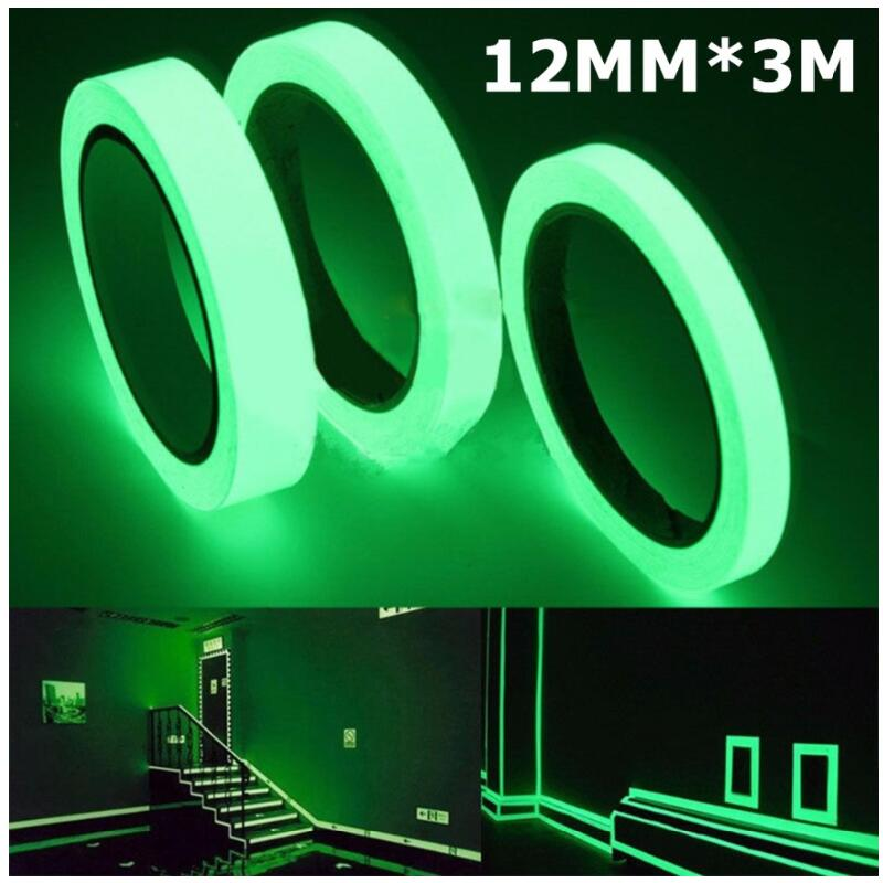 Luminous Tape 12MM 3M Self-adhesive Tape Night Vision Glow In Dark Safety Warning Security Stage Home Decoration Tapes
