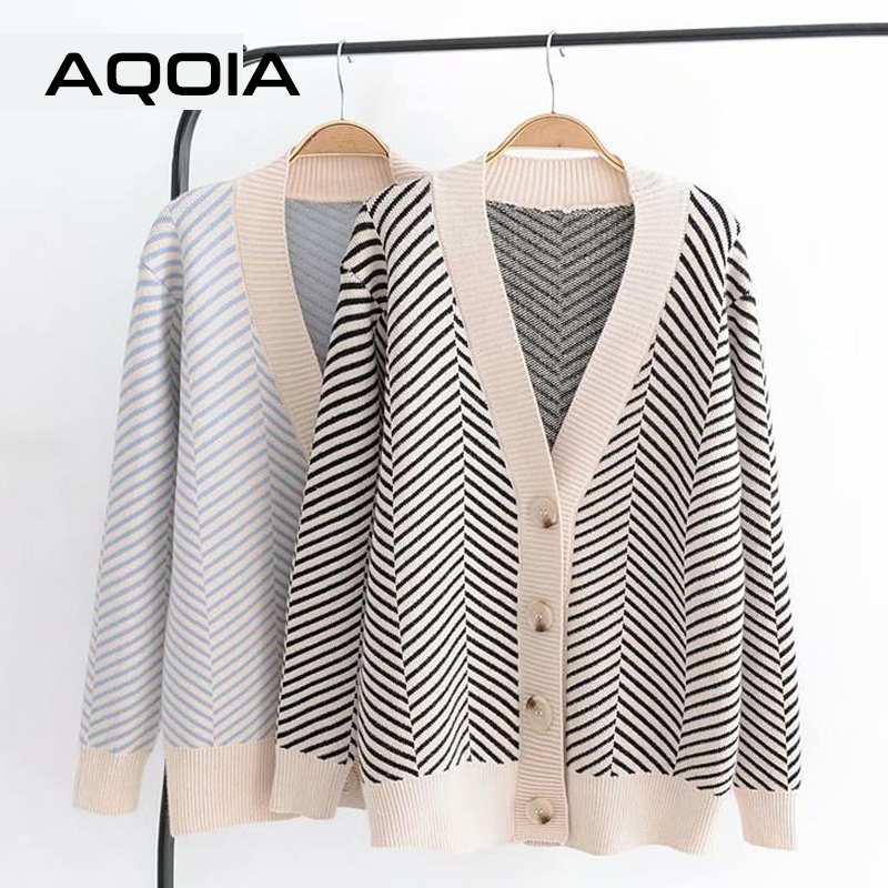 AQOIA Korean Loose Long Sleeve Women's Sweaters Striped Ladies Sweater Cardigan V-neck Versatile Jacket 2019 Winter Clothing