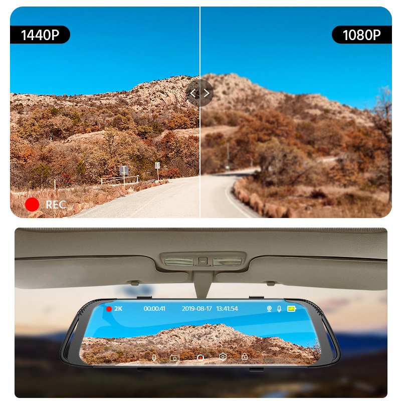Image 4 - E ACE Car Dvr 2K Stream Media RearView Mirror Touch FHD 1080P Dual Lens Video Recorder Night Vision Auto Registrator Dashcam-in Power Adapter from Automobiles & Motorcycles
