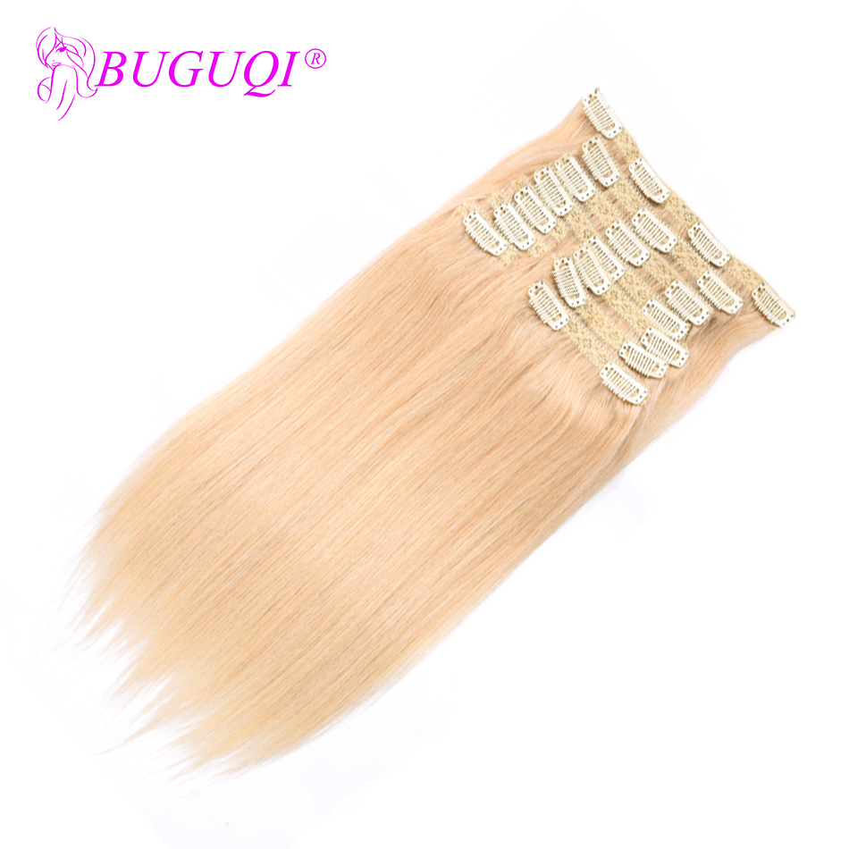 BUGUQI Hair Clip In Human Hair Extensions Malaysian #613 Remy 16- 26 Inch 100g Machine Made Clip Human Hair Extensions
