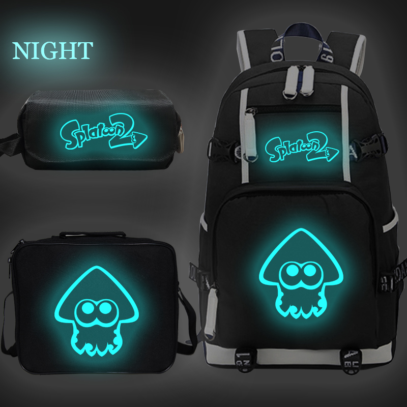 Splatoon Luminous Backpack For Boys Girls Children School Bags Student Bookbag Travel Bagpacks With Lunchbag+pen Bag Sac Enfant