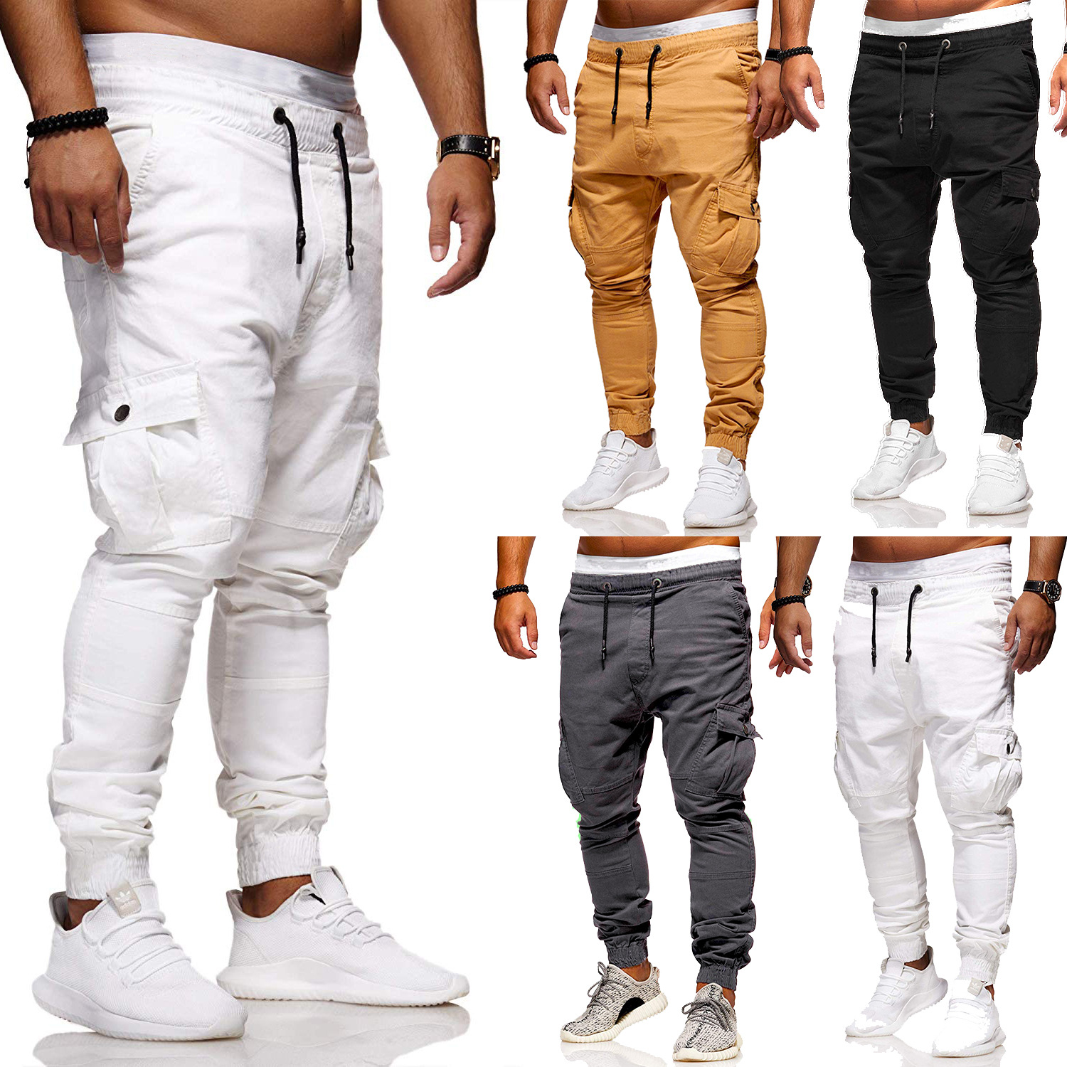 2018 Autumn And Winter New Style Europe And America Men Classic Patch Pocket With Drawstring Ankle Banded Pants Simple Solid Col
