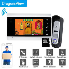 Dragonsview Wifi 7 Inch Draadloze Wifi Smart Ip Video Deurtelefoon Intercom Systeem Bedrade Deurbel Met Camera Unlock Motion Record(China)