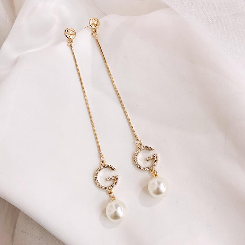 Luxury Letter G Link Chain Dangle Earrings Imitation Pearl Crystal Alphabet Brand Ear Studs Bar Long Thread Earring for Women
