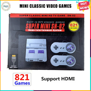 Wholesale 8Bit Mini HDMI TV Family Video Game Console Handheld Built In 821 Classic for SNES Games Dual Gamepad Player PAL&NTSC