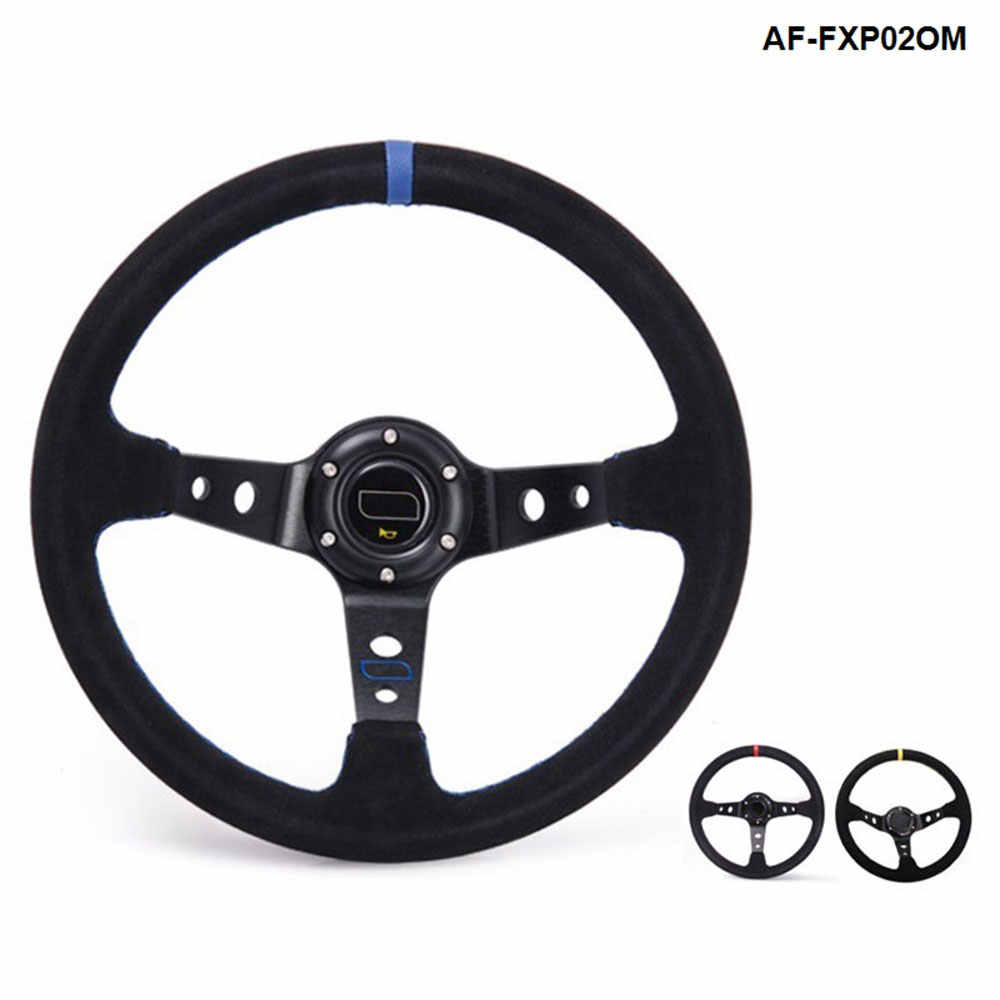 350 Mm Zwart/Geel/Rood Universal Car Auto Racing Steering Wheel Suède AF-FXP02OM