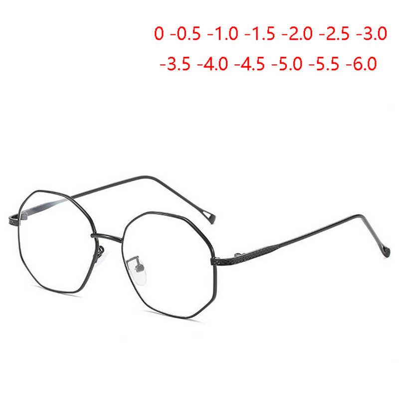 Неправильный многоугольник, очки для близорукости с градусом, женские прозрачные зеркальные металлические очки для близорукости SPH-0,5-1,0 до-4,0