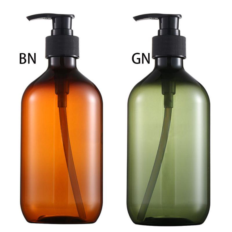 500ml PET Refillable Empty Bottle Press Pump Shampoo Lotion Soap Makeup Liquid Dispenser Plastic Container Beauty Product X7YB