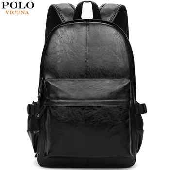 VICUNA POLO Famous Brand Preppy Style Leather School Backpack Bag For College Simple Design Men Casual Daypacks mochila male New - DISCOUNT ITEM  15 OFF Luggage & Bags