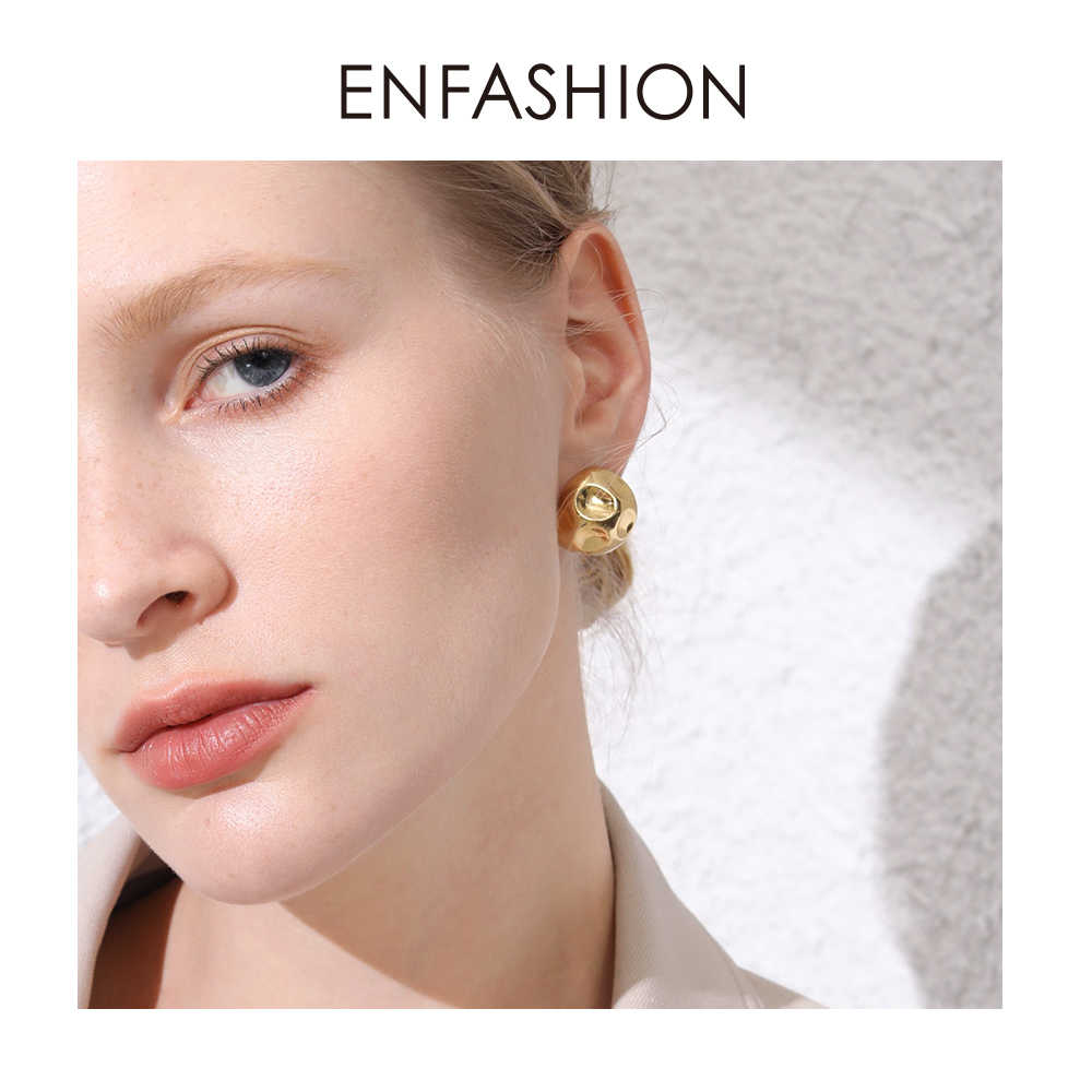 ENFASHION Punk Football Hoop Earrings For Women Gold Color Small Circle Ball Molten Hoops Earings Fashion Jewelry Aros E191103