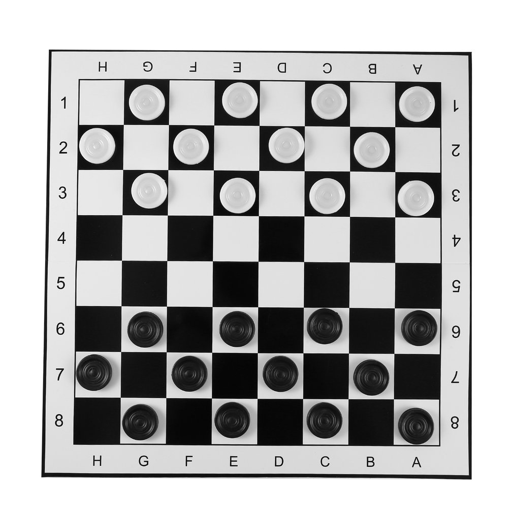 Large Size Plastic Checkers/Draughts Folding Chessboard International Chess Set Travel Board Game Competition Toy