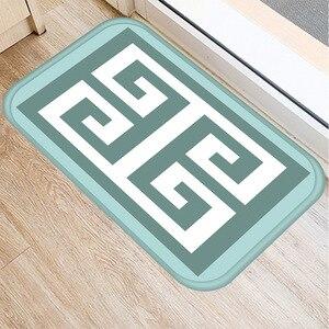 Image 2 - 40*60cm ירוק פסים רצפת מחצלת החלקה זמש שטיח מחצלת דלת מטבח סלון רצפת מחצלת בית חדר שינה דקורטיבי רצפת מחצלת