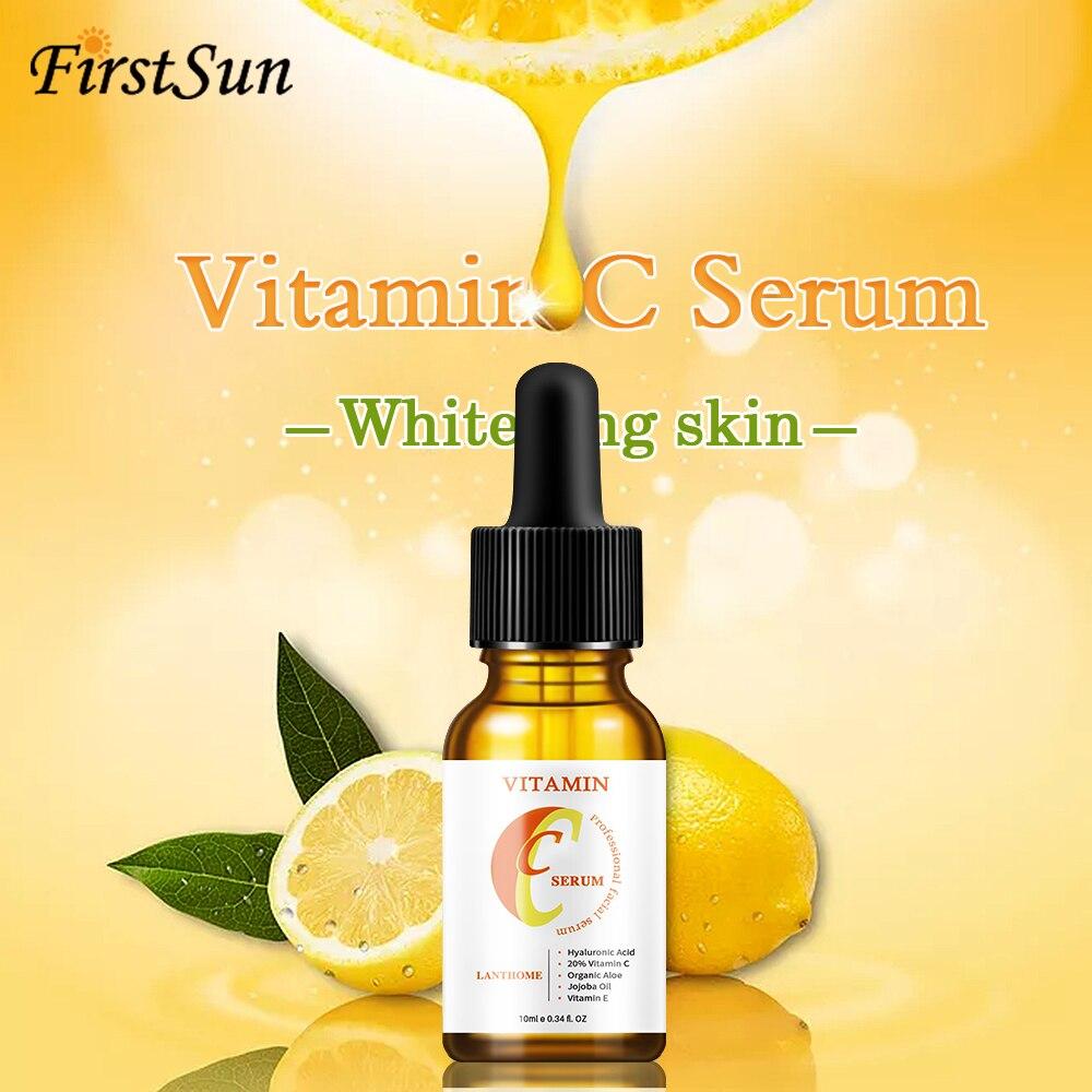 Vitamin C Hyaluronic Acid Whitening Serum Anti Aging Fade Dark Spot Anti Wrinkle Firming Facial Essence Serum Moisturizing Skin