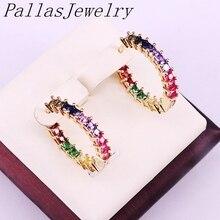 6 Pairs, Multicolor Zirkonia Cz Micro Pflastern Mode Gold Farbe Kreis Ohrring Regenbogen Cz Partei Schmuck Für Frauen Mädchen