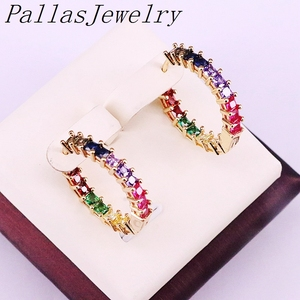 Image 1 - 6Pairs, Multicolor Zirconia Cz Micro Pave Fashion Gold Color Circle Earring Rainbow Cz Party Jewelry For Women Girl