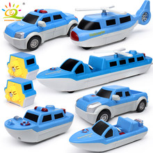 14PCS Magnetic Building Blocks Police Boat Plane Truck Set DIY Magic Car Magnet Construction educational Toys For Children Gift(China)