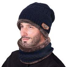 Зимний комплект из 2 предметов, Мужская теплая шапка, зимняя плотная шапка и шарф, набор, вязаная ветрозащитная шапка, унисекс, аксессуары, подарок, Skullies Beanies