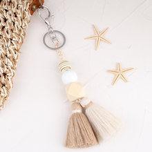Multicolor Handmade Wood Beads Tassel Keychain Bohemian Key Ring Boho Handbag Accessories Key Holder Jewelry Gifts