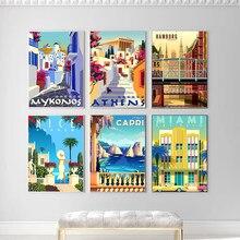 Hd Печать винтажная живопись Греция Италия Германия Ретро плакаты и принты путешествия города пейзаж Настенная картина спальня