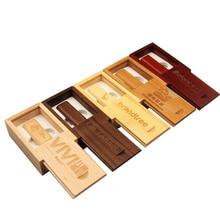 Unidad Flash USB de madera Natural, memoria externa de madera de bambú, 4GB, 16GB, 32GB, 64GB, llavero pequeño de unidad de pluma giratoria, 10 Uds. logo gratis