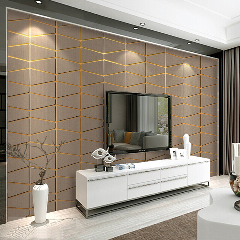 Modern Suede Geometry Lattice Wallpaper For Walls Roll Papel De Parede 3D Non-woven Living Room Bedroom TV Background Wall Paper