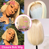 4x4 Closure Wig 613 Honey Blonde Short Bob Lace Front Human Hair Wig Remy Brazilian Straight 1B 613 Ombre Colored Wigs for Women