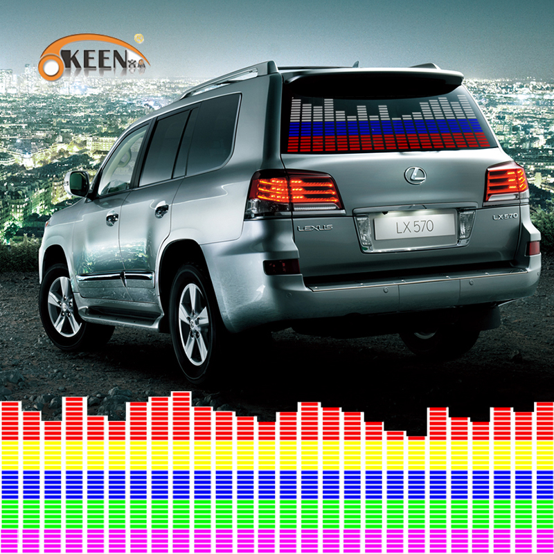 90x25cm 45x11cm Car RGB LED Music Rhythm Flash Light Sound Activated Sensor Equalizer Rear Windshield Sticker Styling Neon Lamp