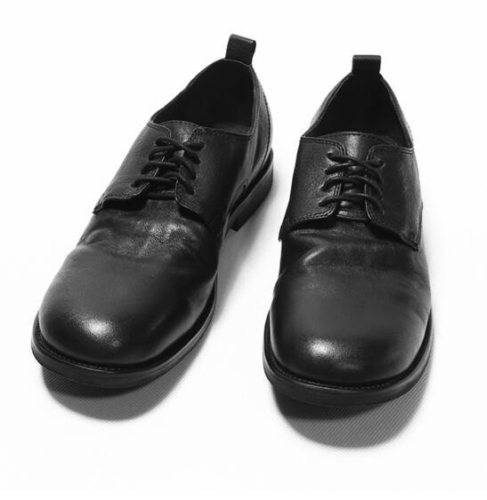 Black Retro New men  dress shoes fashion lace-up falt handmade shoes for men Genuine leather office formal shoes