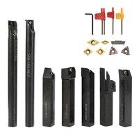 7PCS kit di utensili per tornio con codolo per tornio barra di alesatura per tornio con chiave per inserto in metallo duro Set fai da te acciaio metallico