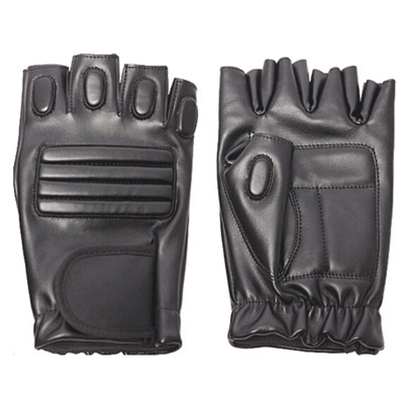 Men'S Outdoor Exercise Sport Mens Half Finger Leather Glove Leather Black Cycling Gloves-ABLD