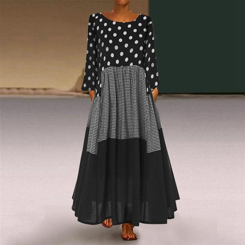 Mferlier, шикарное осеннее платье, Дамское, с круглым вырезом, с длинным рукавом, в горошек, в клетку, в стиле пэчворк, тонкое, большие размеры 8XL 7XL