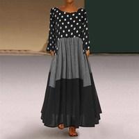 Mferlier Chic Autumn Dress Ladies O Neck Long Sleeve Dot Plaid Patchwork Slim Big Sizes 8XL 7XL 6XL 5XL 4XL Black A Line Dress