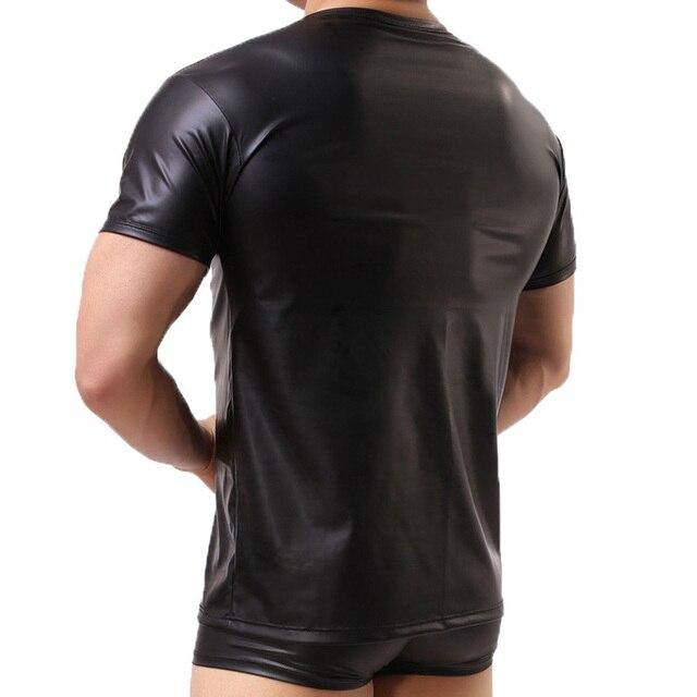 Męskie koszulki z krótkim rękawem PU skórzane koszulki z krótkim rękawem Sexy Fitness Gay lateksowe koszulki czarne bluzki sceniczne odzież klubowa Tee Plus rozmiar XXL