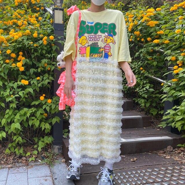 [EWQ] 21 New Summer 1 Elegant Temperament White O Neck Cartoon Print Lace Polka Mesh Dot Stitching Dress Women 16F1207 4