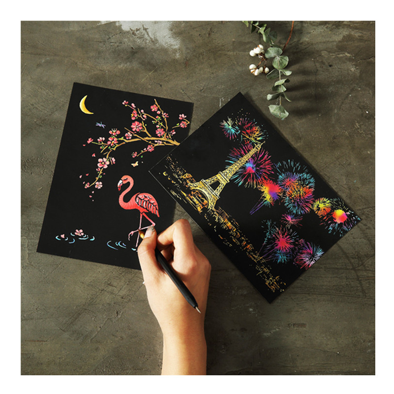 20*14cm 4PC Magic DIY Scratch Painting Postcards Art Craft Scraping Paper Christmas Cards Gift Flowers Nature Kids Drawing Toys