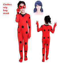 купить Fantasia Kids Adult Lady Bug Costumes Girls Women Child Spandex Ladybug Costume Jumpsuit Fancy Halloween Cosplay Marinette Wig по цене 322.4 рублей