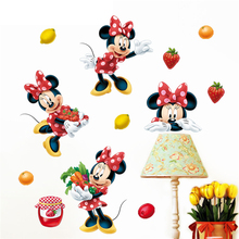 Disney minnie vegetable and fruit sauce wall stickers home decor living room cartoon wall decals pvc mural art diy posters
