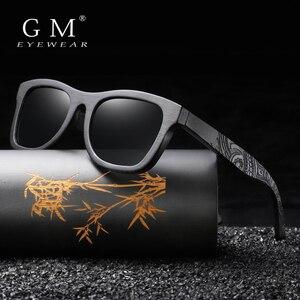 Image 3 - GM Holz Sonnenbrille Männer Marke Designer Polarisierte Fahren Bambus Sonnenbrille Holz Gläser Rahmen Oculos De Sol Feminino S1610B