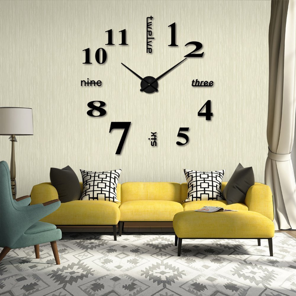 New Quartz 3d wall clock DIY Wall Clock Rushed Mirror Sticker Living Room Decor title=