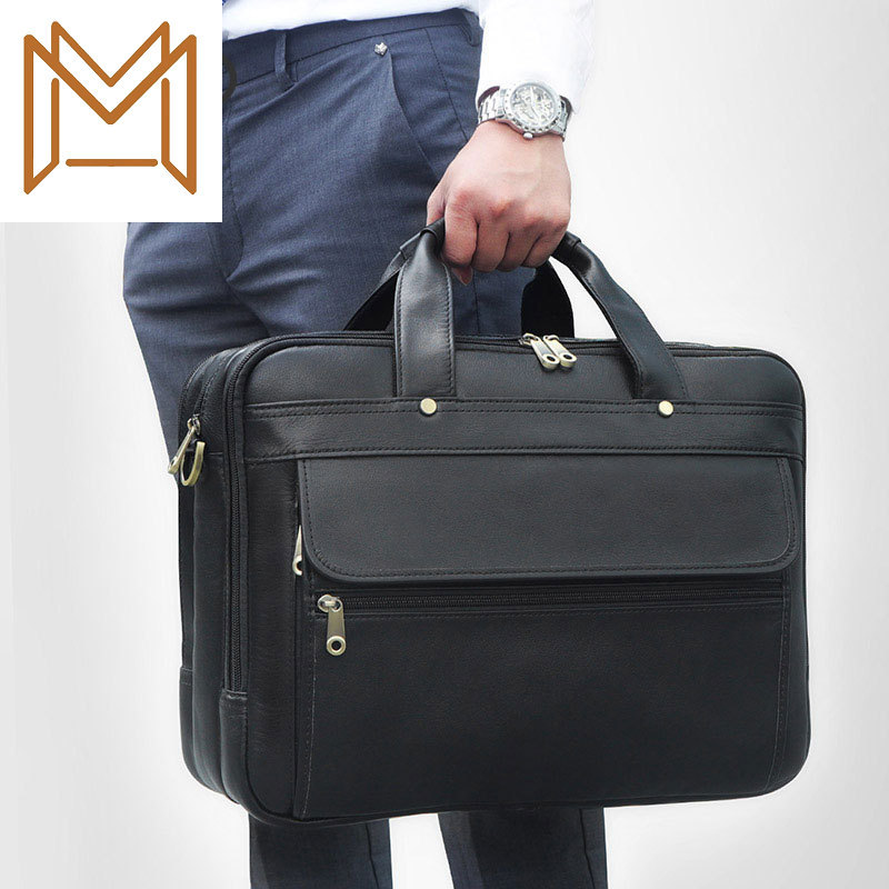 Genuine Leather Male Layer Cowhide Business Affairs Package Three Layers Bag Design Genuine Leather