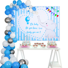 Baby Shower Boy Decorations Silvery/Blue Balloon Arch Elephant fabric Background Photography