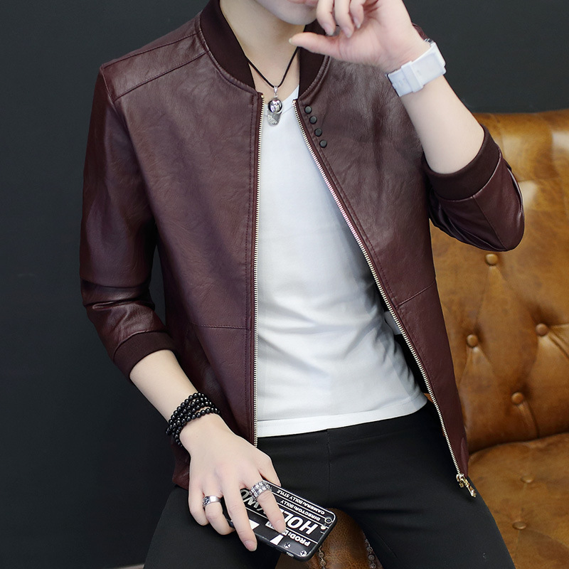 2017 New Style MEN'S Coat Autumn Youth PU Leather Jacket Korean-style Casual Fashion Slim Fit Tops MEN'S Jacket