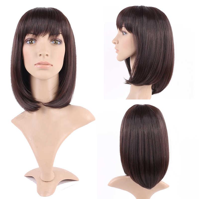 S-noilite peruki z prostymi włosami dla kobiet syntetyczne peruki z grzywką BOB fryzura peruka do cosplay czarne brązowe włosy żaroodporne włosy