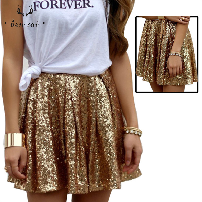 Women Fashion <font><b>Sexy</b></font> Short Skirts Ladies European American Stylish Charming Gold Sequin Pleated Skirt New image