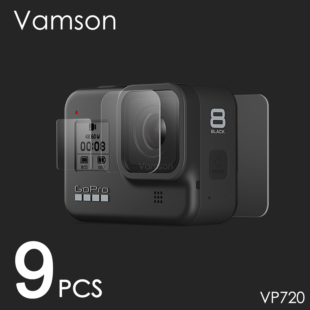 Vamson for Gopro Hero 8 Black Tempered Glass Screen Protector Action Camera Lens Screen Film 9Pcs for Go pro 8 Camera VP720(China)
